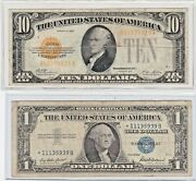 1928 10 Gold Certificate And1957 1 Silver Certificate Star Note Lot Of 1 Each