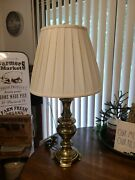 Stiffel Brass Desk/table Lamp With Original Shade And Finial Heavy-duty 29