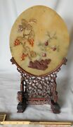 Antique Chinese Stone Table Screen 1800s Celadon Carved Wooden Oval Bas Relief