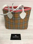 Large Giant Reversible Tote Canvas Multi Check Pink 4077386