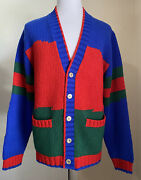 Nwt 2400 Men Wool Cardigan Sweater Red/green/blue Size Xl Italy