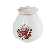 Vintage White Glass Hurricane Globe Red Roses Embossed Flowers Fluted Gwtw