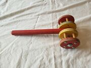 Vintage Antique Wood Rolling Push Toy With Bells