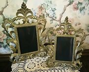 Vintage Victorian Brass Picture Frames W/ornate Scrolling Set Of Two 1980's