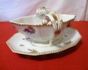 Nymphenburg Bavaria Germany Perl Pearl Service Painted Flowers 982 Gravy Boat