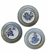 3 Vtg German Pewter Ceramic Tile Coasters Blue And White Floral Wall Hangings