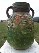 Roseville Pottery 1930and039s - 12 Blackberry Double Handled Vase 578-12 Unmarked