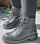 Cc Black Brave Leather Combat Motto Quilted Boots Sz38