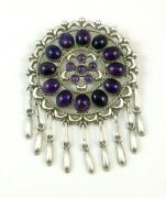 Vintage Native American Zuni Pw Sterling And Amethyst Dreamcatcher Pendant Pin