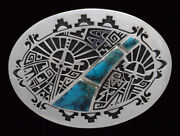 Overlay Belt Buckle With High Grade Cloud Mountain Turquoise By Cecil Ashley