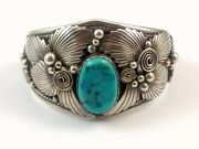 Native American Navajo Signed J Delgarito Sterling Silver And Turquoise Bracelet