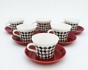 6 Cups And Saucers - Red Top - Marianne Westman - Randoumlrstrand / Rorstrand