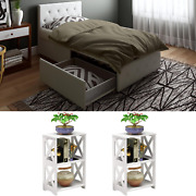 Twin Size White Bedroom Set Furniture 3 Piece Leather New Nightstand Modern Bed