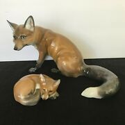 Rosenthal Foxes Fine Hand-painted Antique Sculptures Made In Germany Mint