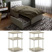 3 Piece Modern Twin Size Bedroom Set Furniture Leather Bed New Nightstand White