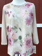 Nwt Alfred Dunner Home For The Holidays 2018 Floral 3/4 Sleeve Top Shirt 48 S