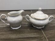 Gibson Golden Legacy China White Scalloped Edge Covered Sugar And Creamer