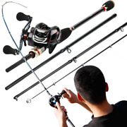 Casting Rod And Baitcaster Reel Fishing Combo Carbon Fast Travel Pole Cana Carrete