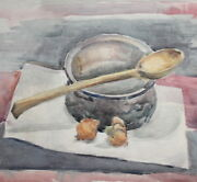 Antique Watercolor Painting Still Life With Copper
