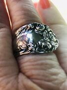 Handmade Sterling Roses Spoon Ring Size 8