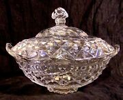 18th 19th C Georgian Anglo-irish Cut Glass Crystal Covered Butter Serving Bowl