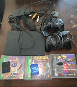 Tested Sony Ps2 Slim W/ Cords,4 Games, 3 Memory Cards, And 2 Controller