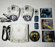 Sega Dreamcast System Bundle + 2 Controllers + 3 Memory Cards And 3 Games- Tested
