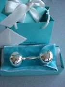 Sterling Silver New Large Baby Rattle Barbell Pouch,box,card