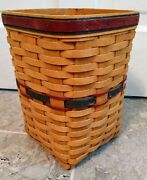 Longaberger 1995 Fathers Day Mini Waste Basket Combo With Liner Protector
