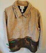 Quacker Factory Zip Up Leather Safari Embroidered Jacket With Lacing Size 2xl