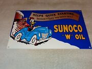 Vintage Sunoco Donald Duck+ Car And Snow 12 Metal Gasoline And Oil Sign Walt Disney