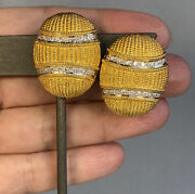 Huge 18k Yellow White Gold Diamond Earrings Oval Vintage Textured Cables 1960s