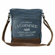 New Myra Bag 1995 Vintage Denim Crossbody Stamped Canvas Leather Graphic French