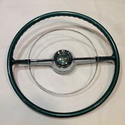 1953 1954 Chevy Belair Steering Wheel Horn Ring And Horn Button Cap Oem Vintage