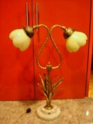 Italy Tole Sheaf Wheat Gold Double Vaseline Glass Shades Piano Lamp