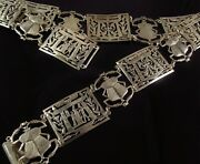 1920and039s Art Deco 800 Silver Egyptian Revival Scarab Beetle Panel Belt 170 Grams