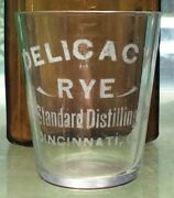 1890s Antique Delicacy Rye Cincinatti Ohio Old Pre-pro Etched Whiskey Shot Glass