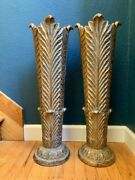 Vintage Gilded Floral Vases, Pair, Wood, Tapered, Tall Rare Wedding Centerpiece