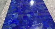 30 Inches Marble Coffee Table Top Lapis Lazuli Stone Work Island Table For Home