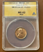 1960-d Sm/lg Lincoln Memorial Cent Fs-101 Small/large Anacs Ms62rd Ms 62 Rd Coin
