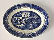 Vintage Washington Old Willow Pattern Oval Meat / Serving Plate - Blue And White