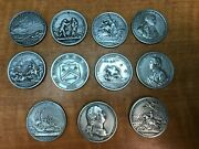 11 Pc Lot Of Mixed Pewter Comitia American Medals Washington