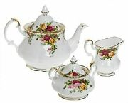 Royal Albert Old Country Roses 3-piece Tea Set Mostly White With Multicolored...
