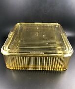 Federal Amber Ribbed Glass Refrigerator 8 Square Dish Container W/ Lid Vintage