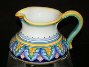 Large Bulbous Deruta Pottery Pitcher Hand Painted By Gialletti Giulio