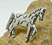 Old Pawn Navajo Am Alfred Martinez Sterling Silver Carved Horse Pin Or Pendant