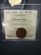 Canada Coins, Iccs Cert 1964 Small 1 Cent Vf-30 Rotated Die 90 Degrees