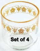 Set Of 4 Corning Ware Corelle Butterfly Gold 8 Oz. Juice Glasses Tumblers