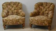 Pair Of Baker Furniture Arm Chairs Club Chairs With Tufted Needelpoint Fabric