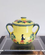 Rare Yellow Quimper Soleil Doubled Handled Lidded Urn / Casserole Bowl H 7.5andrdquo
